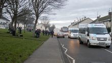 School buses collecting students at Talbot Green