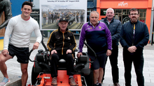 Rackard Coady is welcomed to Wexford by Lee Chin, Eamonn Mernagh, Cllr Gary Laffan and Gary Morris