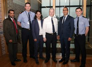Samir Rbouh, Inspector Rory Sheriff, Kamal Tribak, Chief Superintendent Paddy McMenamin, His Excellency Lahcen Mahraoui, and Garda Denis Costello at Wexford Garda Station