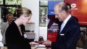 Joanne Kehoe with Prince Philip in 2002