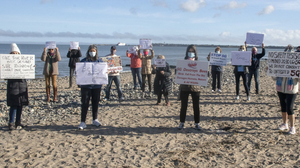 Rosslare residents protesting against the proposed mast earlier this year