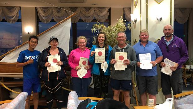 Receiving their certs having completed the swim were Denise Underwood, Sandra Goldsmith, SaskiaDodebier, Peter Bolger, Enda Sinnott and James O'Connor