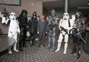 Jim Maher, manager of the Riverside Park Hotel in Enniscorthy, posing with Star Wars characters at the launch of the Cosmic Rebels Comic Con 2018