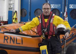 Fr James ready for duty with the RNLI