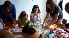 Members of the Collective Sensory Group creating some of their colourful artworks, which will be on display at Wexford Arts Centre from September 20 to October 13