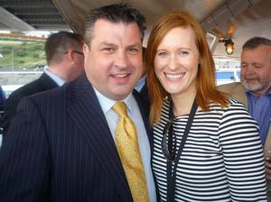 Wexford's Cllr George Lawlor and Dara Fitzpatrick during the Tall Ships Race in Waterford.