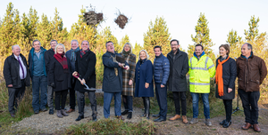 Minister Paul Kehoe and Mayor of Wexford, George Lawlor turn the sod on the first phase of the Carrigfoyle quarry and lake development