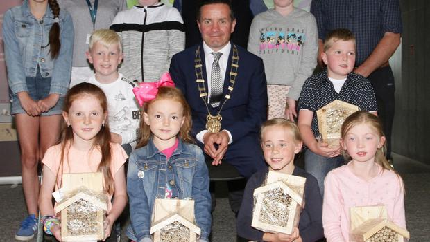 Bee box winners, back row: Nadia Polaitiecka, Ferns NS; Cliona Connolly, Wexford County Council; Easha Doyle, Ferns NS; Don Conroy, artist and judge; Róisín Reville, Carroreigh NS and Nicholas Egan Wexford Naturalists Field Club. Front row: Kiera O'Connor, Ferns NS; Billy Plummer, Ferns NS; Ellie Bridget Balfe, St Senan's NS; Cllr John Hegarty, Clodagh Byrne, Ballaghkeene NS; Bobby Kent, Caroreigh NS and Helena Forristal, Ballindaggin NS.