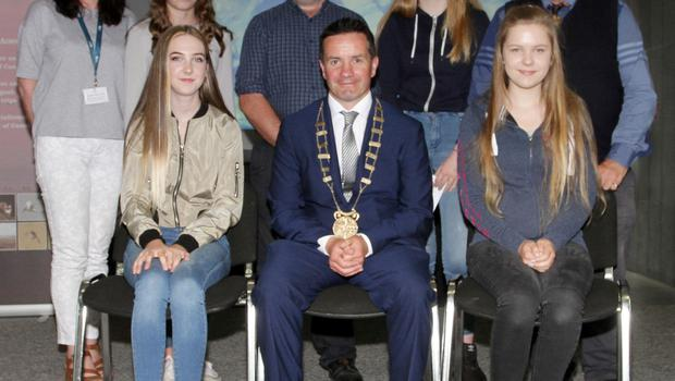 1st and 3rd year winners, back row: Cliona Connolly, Wexford County Council; Adriana Ruthovska (joint 3rd) Gorey Community School; Nicholas Egan, Wexford Naturalists Field Club, Sophie Telford, Kennedy College New Ross, and Don Conroy, artist and judge. Front: Ella McShane, Gorey Community School, joint 3rd; Cllr John Hegarty and Amanda Dobre, Gorey Community School, 1st.