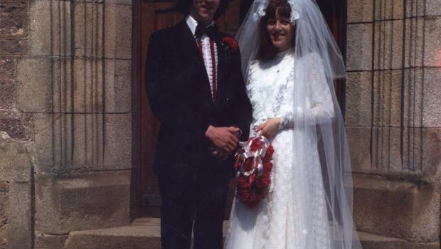 Stephen and Bernie on their wedding day back in 1977.