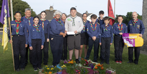 Brendan Thompson of the 35th Wexford Kilmore Scout Group who headed off to the the 24th World Scout Jamboree at the Summit Bechtel Family National Scout Reserve in West Virginia, pictured with members of his scout group before departure