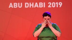 An emotional Lisa Redmond as she waits to be presented with her gold medal at the Special Olympics in Abu Dhabi last week.