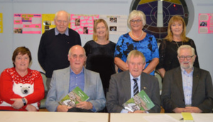 The Kilmore Parish Journal committee, from left, front – Patricia Boyd, Tony Power (guest of honour), Seamus O'Keeffe, and Seamus O'Brien; back – Frank Lonergan, Lucy Moore, Breda Hayes and Margaret Nunn