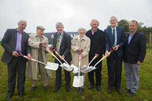 Turning the sod: Michael Bennett of Niall Barry and Company, Mhártain McCullough, Elezibeth Berney, Richard Mulcahy, Jim Ryan and Wexford County Council CEO,Tom Enright