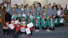 Members of the Guides who took part in the carol service
