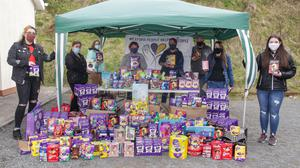 Wexford People Helping People volunteers with a collection of Easter Eggs donated to them on Saturday at St Josephs Community Centre