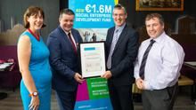 At the announcement of the Social Enterprise Development (SED) Fund Leinster awards, from left: Deirdre Mortell (CEO, Social Innovation Fund Ireland); Conn Cleary (Director of Member and Client Relations at IPB Insurance); Pádraig Hall (Kilcannon Industries CLG) and John Evoy (Social Enterprise Fund Manager