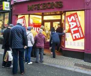 People queuing outside McKeon's following news that it is closing.