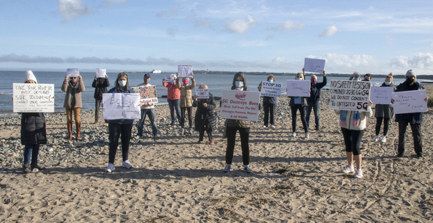 Some of the Rosslare residents who are against the telecommunications mast proposal