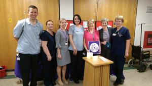 Members of the End of Life committee: Oliver Comerford, CNS Palliative Care; Patricia Byrne, CNM2 Medical Representative; Jennifer Power, Quality and Safety Manager; Siobhan O'Dowd, CNS Palliative Care; Eilis Redmond, Nurse Practice Development Facilitator; Shelagh Twomey, Clinical Risk Manager; and Irene Murphy, CNM2 Surgical Representative.
