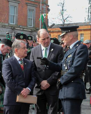 Chief Superintendent John Roche with Deputy Brendan Howlin and Minister Paul Kehoe during the 1916 commemorations in Enniscorthy two years ago