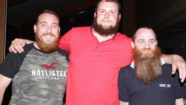 Eoin McMahon, Paddy Murphy and Shane O'Neill before their shave for charity.