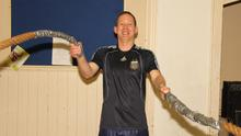 David Looby using the battle ropes in the YMCA Hall, New Ross, on Wednesday night last.