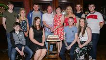 Séamus and Geraldine with family members in Culleton's in Whitemill.