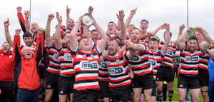 Tom Ryan of Enniscorthy RFC lifts the cup during the Bank of Ireland Provincial Towns Cup final match between Enniscorthy RFC and Wicklow RFC at Navan RFC in Navan. Photo by Sam Barnes/Sportsfile