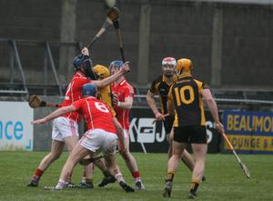 This Sylane player has nowhere to go as a determined Fethard trio stop him in his tracks