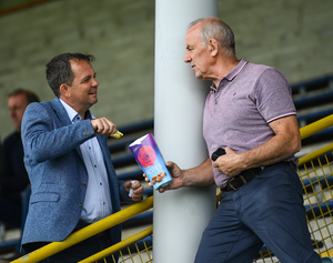 Davy Fitzgerald with Wexford Park's electrician-on-call, former county dual player, John 'Stella' Walker, on Pettitt's SHC final day