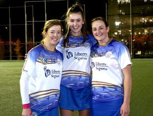 Wexford's All Star camogie trio Kate Kelly, Sarah O'Connor and Shelley Kehoe after the exhibition game in Madrid