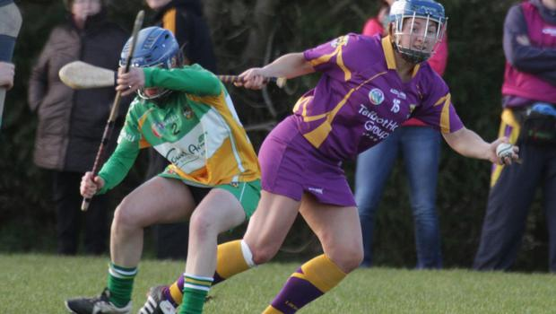 Eimear O'Connor breaks away from Offaly defender Fiona Stephens