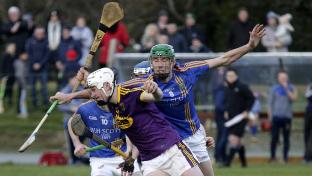 Wexford midfielder Aaron Maddock tries to shake off the close attention of Wicklow's Ronan Keddy