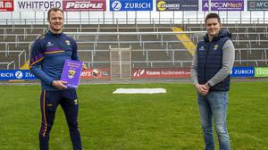 Matthew O'Hanlon, Wexford Senior hurler, and Shane Roche, manager of the Wexford Senior football team, at the launch of the strategic plan