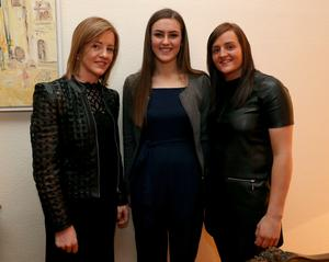 Wexford's All Star camogie trio Kate Kelly, Sarah O'Connor and Shelley Kehoe visiting the Irish Embassy