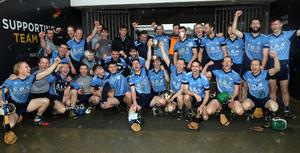 The triumphant St. Anne's squad after making an immediate return to Senior hurling ranks in Innovate Wexford Park on Saturday
