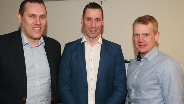Matty Forde (centre) with former Dublin midfielder Ciaran Whelan and Wicklow's sole all-star Kevin O' Brien who also managed him for a spell when he was in charge of the Kilanerin club.