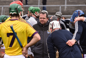 Davy Fitzgerald in a huddle with his players before last year's Allianz League quarter-final against Galway. The teams were due to meet again at the same stage, but the game is not going ahead. However, they will be clashing in the championship on October 31 or November 1.