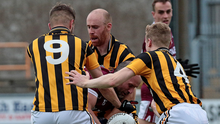 Castletown's James Holmes is outnumbered by Shelmaliers trio Conor Hearne, Aidan Cash and Aaron Murphy in Chadwicks Wexford Park on Saturday, but the Senior football titleholders still made it through to the last eight with a narrow one-point win