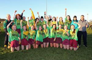 The Bunclody girls celebrate after forging one of the most incredible county title victories seen in the county for many years