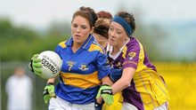 Kellie Kearney in action on one of her first really big days in a Wexford jersey, tackling Tipperary's Shauna Ryan in the 2010 All-Ireland Minor 'B' final in Freshford
