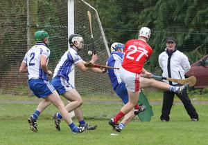 Bertie Gahan of Monageer-Boolavogue crashes the sliothar to the Craanford net in St. Patrick's Park on Saturday
