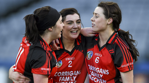 Una Leacy, Ciara Storey and Mary Leacy after the All-Ireland Club final victory of 2015 against Mullagh from Galway. Picture credit: Ray McManus / SPORTSFILE