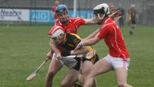 Kevin Rowe and Richie Waters of Fethard putting pressure on a Sylane opponent