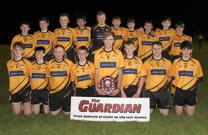 The Kilrush crew after collecting the Gorey Guardian Juvenile football Roinn 2 shield in St. Patrick's Park
