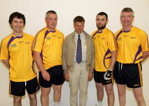 Paddy Haughton, Colin Paddy Haughton and Colin Keeling (left), winners of the senior doubles, with Ricky Barron and runners-up Matthew Hynes and Paul Carty