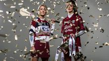 St. Martin's captain Katie O'Connor (right) at the AIB All-Ireland final media day with Slaughtneil's Gráinne O'Kane