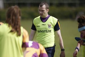 Manager Shane McCormack, the former Kildare senior goalkeeper, shows his disappointment at the end