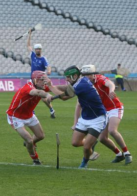 Martin Power and Richie Waters applying pressure on an Ardmore attacker